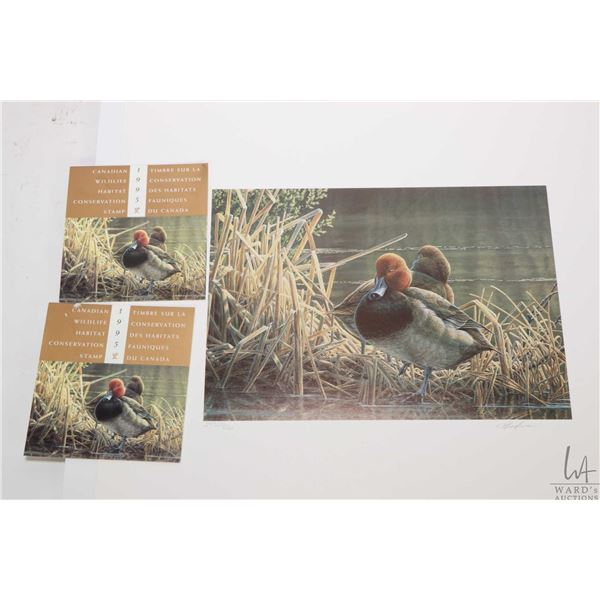 Three unframed Canada Wildlife Habitat Conservation Stamp & Print sets, each is limited edition and