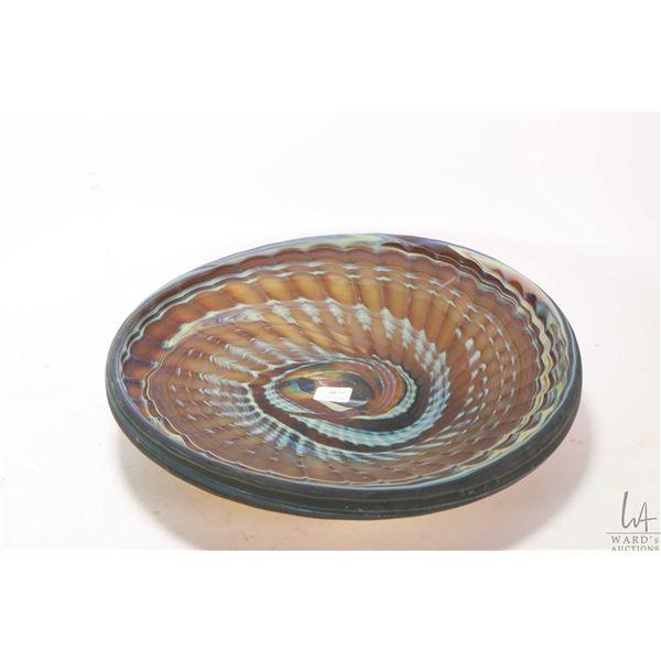 """Hand blown art glass center bowl, no signature seen, 12 1/2"""" in diameter"""