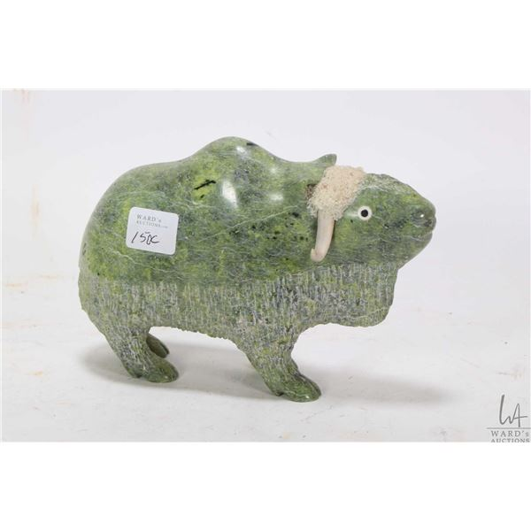 """Hand carved soapstone musk ox, 7"""" in length"""