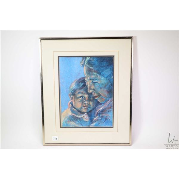 """Framed original acrylic on board painting titled on verso """"Aluta with her Adopted Son"""" and signed by"""