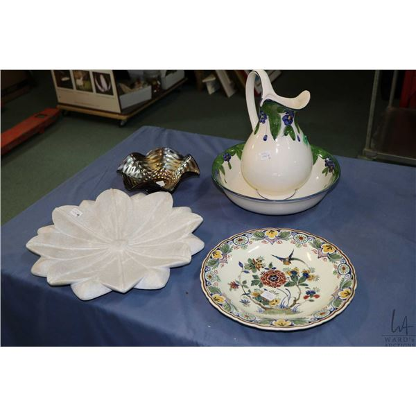 Selection of collectibles including Portuguese bowl and jug, carnival style bowl, hand painted Delft