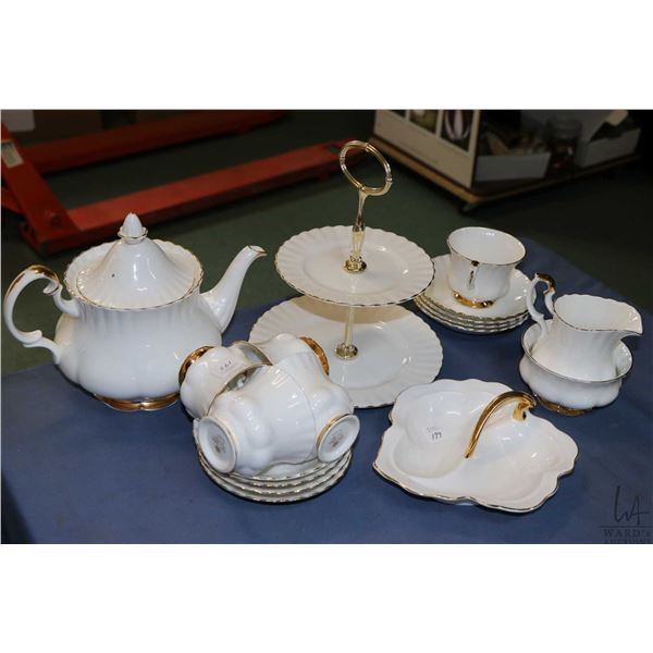 Selection of Royal Albert Val D'or bone china including teapot, cream and open sugar, five teacups a