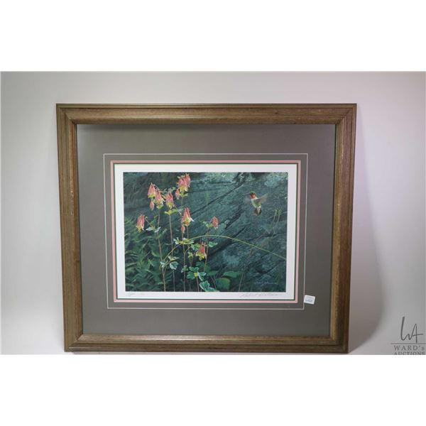 """Framed A/P limited edition print """"Ruby Throat and Columbine"""" 19/56 pencil signed by artist Robert Ba"""