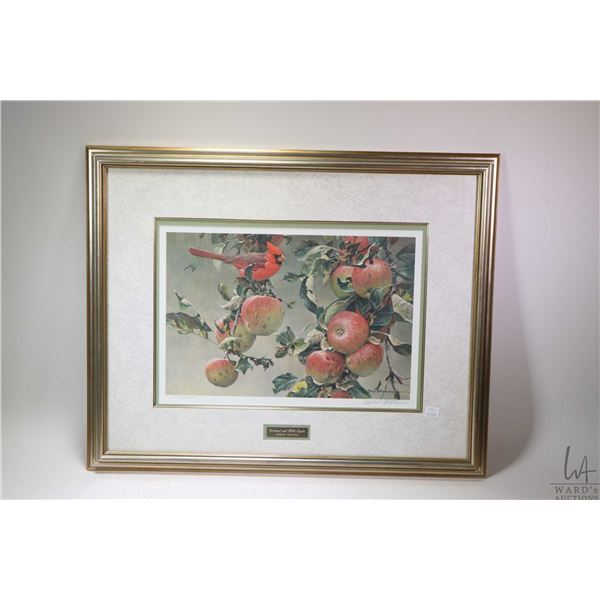 """Framed limited edition print titled """"Cardinal and Wild Apples"""" 19/56 pencil signed by artist Robert"""
