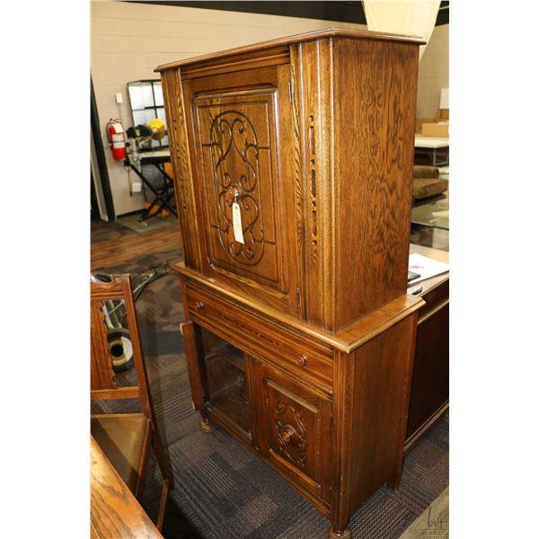 Three door single drawer oak court cabinet to match lot 207