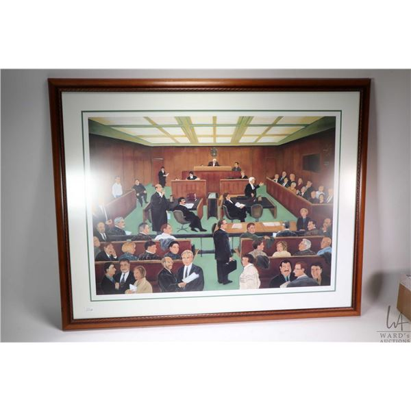 """Framed limited edition print """"Jury Trial"""" pencil signed by artist Toti, 11/125. Not Available For Sh"""