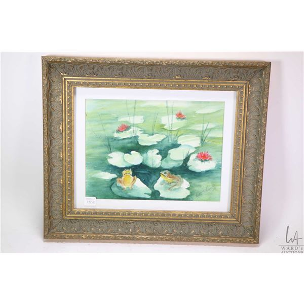 """Gilt framed watercolour painting titled on verso """"What's up today?"""" signed by artist Ruth O?Connell,"""