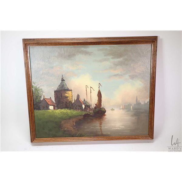 """Framed oil on board painting of a Dutch harbour scene, no artist signature seen, 16"""" X 20"""". Not Avai"""