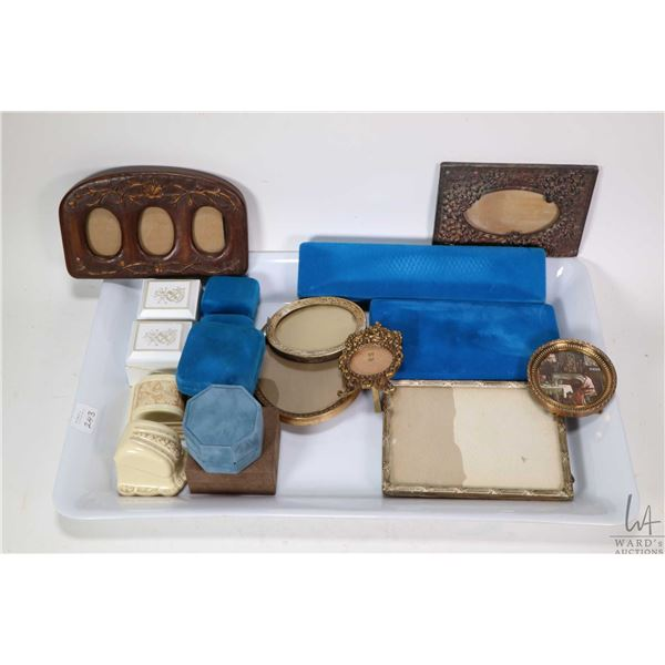 Selection of vintage photo frames and rings boxes including vintage and Birks