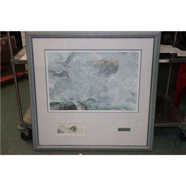 """Framed limited edition artist proof titled """"Endangered Species-Grizzly"""" 44/76, pencil signed by arti"""