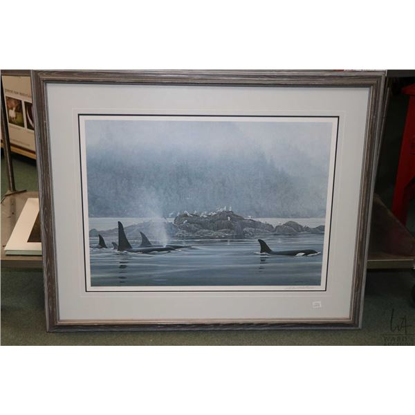 """Framed limited edition print titled """"Orca Procession"""", pencil signed by artist Robert Bateman, 443/9"""