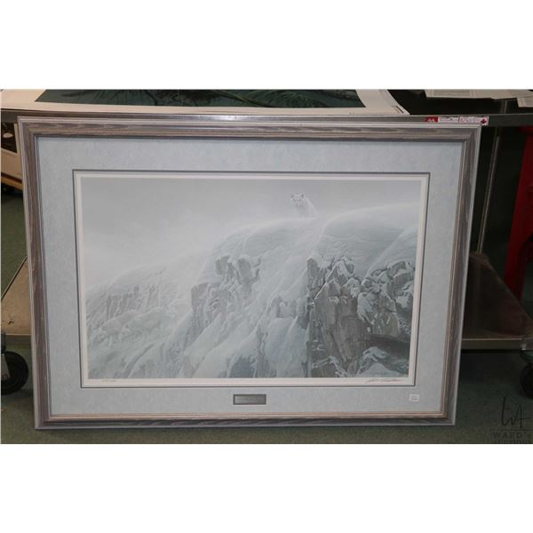 """Framed limited edition print """"Arctic Cliff-White Wolves"""" pencil signed by artist Robert Bateman, 559"""