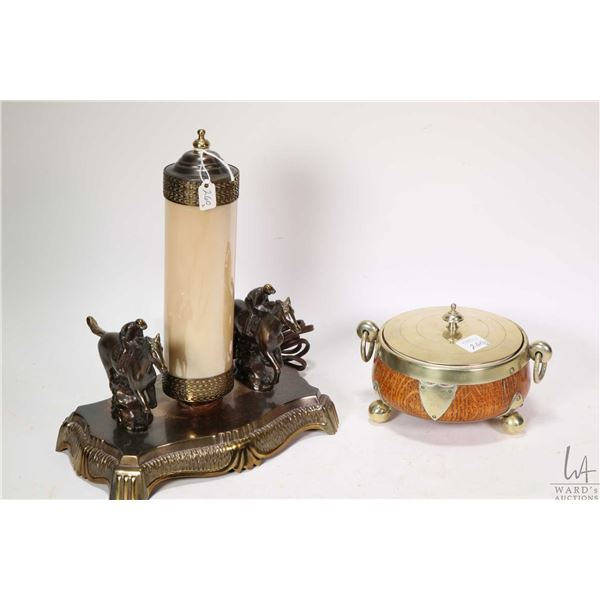 Vintage racehorse lamp with glass shade and a small oak and brass keep