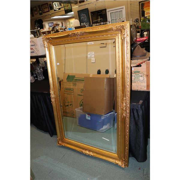 """Large modern gilt framed bevelled wall mirror, 58"""" X 40"""". Not Available For Shipping. Local Pickup O"""