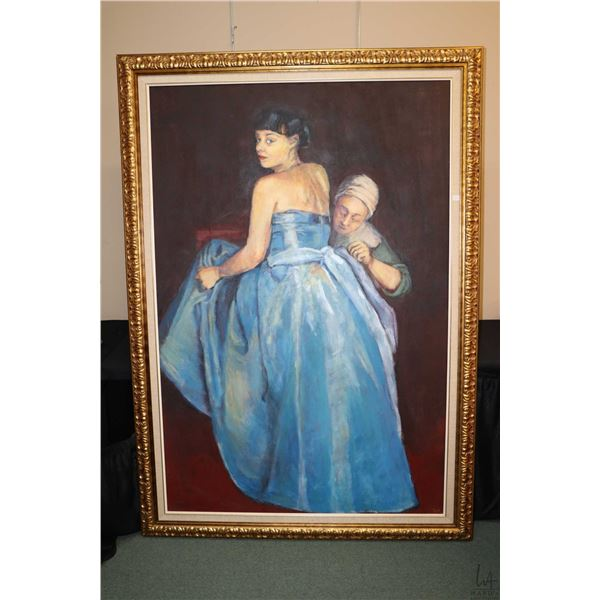 """Gilt framed oil on canvas painting of a dress fitting, initialled by artist G.W., 68"""" X 46"""". Not Ava"""