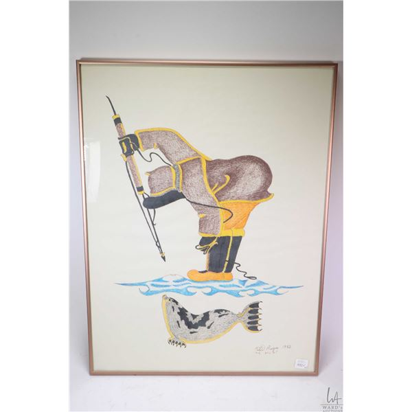 Two Inuit pictures by artist Peter Ragee both fishing scenes including one hand coloured pencil, bot