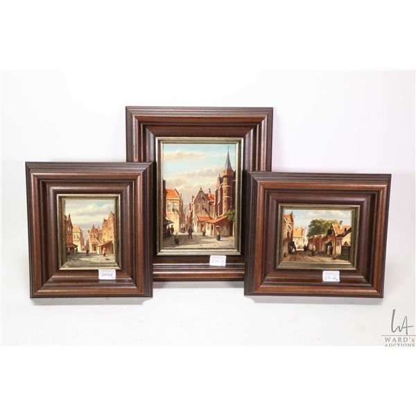 Three small framed oil on board Dutch street scene paintings, all signed by artist Beekhout,  larges