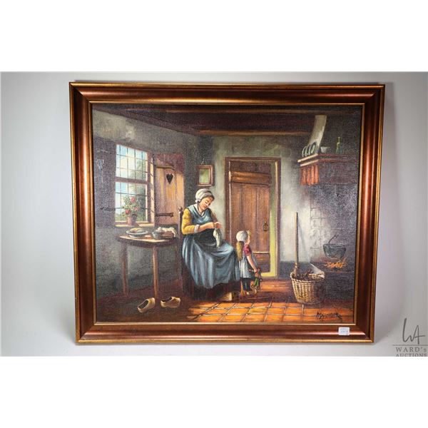 """Two framed oil on canvas paintings including Dutch lady washing the dishes 20"""" X 16"""" and a lady mend"""