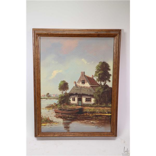 """Framed oil on canvas painting of a Dutch lakeside cottage, signed by artist Mariss, 16"""" X 12"""""""