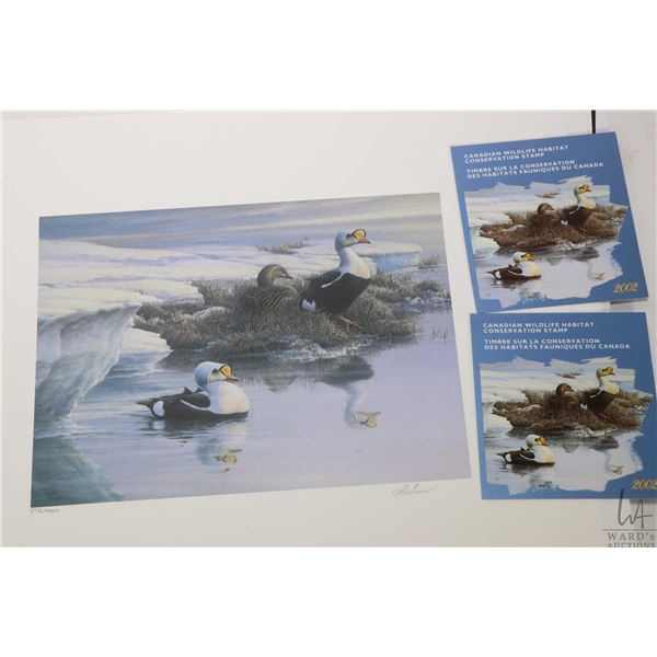 Four unframed Canada Wildlife Habitat Conservation Stamp & Print sets, each is limited edition and e