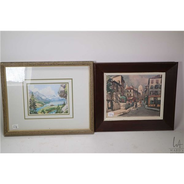 Three framed prints including a young lady with her horse, a mountain scene and a European scene