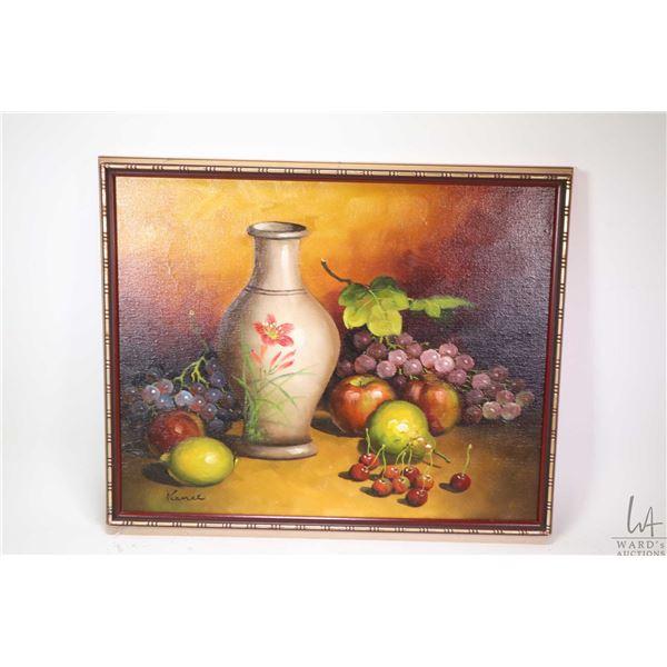 "Framed oil on canvas still-life signed by artist Kance, 16"" X 20"""