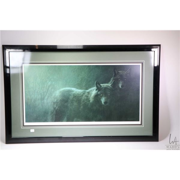 Framed limited edition print of wolves, pencil signed by artist Seerey Lester 1831/1950. Not Availab