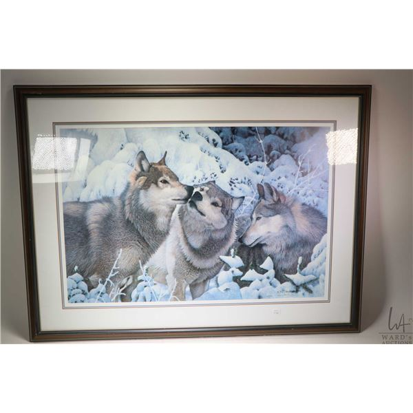 Framed limited edition print of wolves, pencil signed by artist Neil Blackwell, 513/750. Not Availab