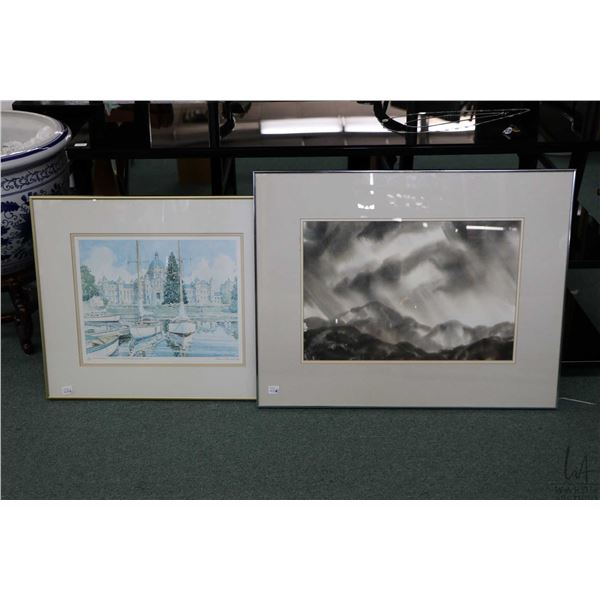 """Framed limited edition print """"Inner Harbour, and Parliament Buildings, Victoria B.C."""" signed by arti"""