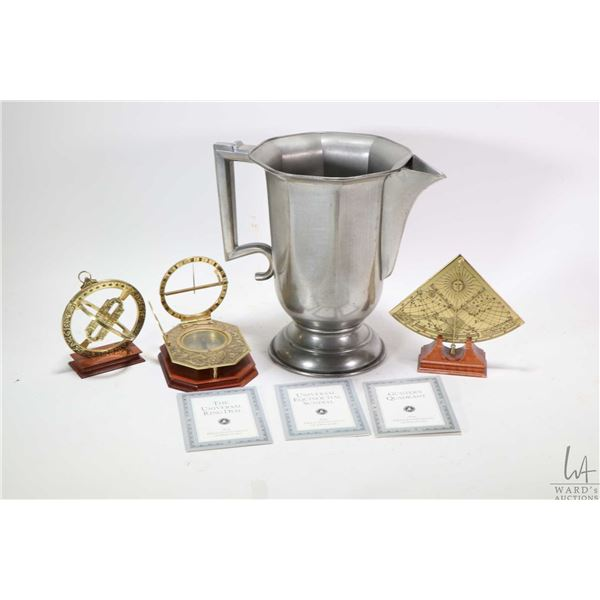 """Vintage style pewter jug by Royal Selangor 10"""" in height and three Franklin Mint """"Instruments of Dis"""