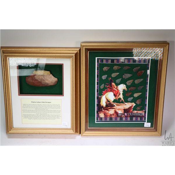 """Framed Indian hide scrapper labelled """"Plains Indian Hide Scraper"""" and a framed set of Indian arrowhe"""