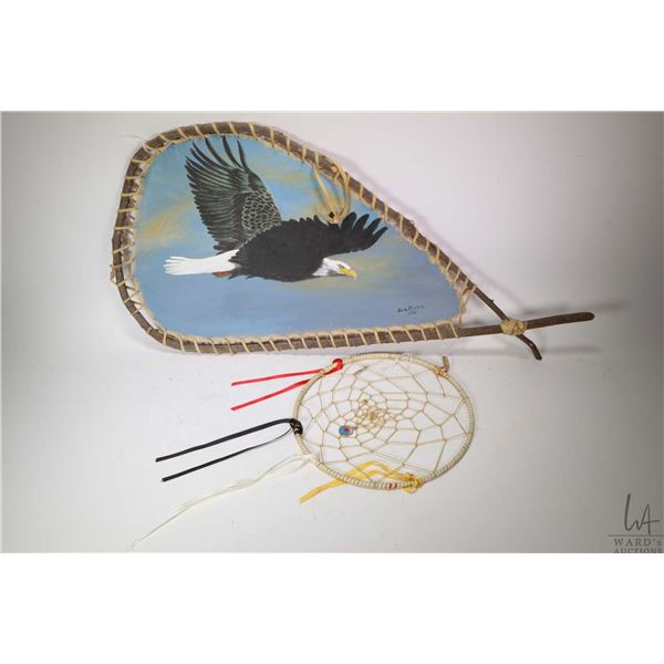 """Handmade painting moose hide wall hanging signed by artist June Mickle 1996, 14"""" X 20"""" and a 10"""" dre"""