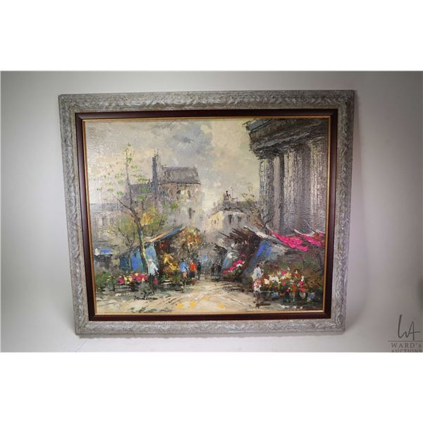 """Oil on canvas painting of a European street market signed by artist Martineau, 20"""" X 24"""". Not Availa"""