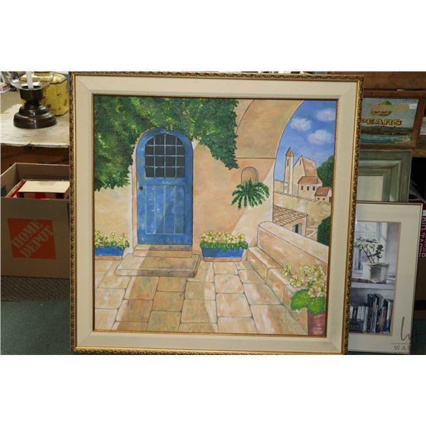 """Large gilt framed acrylic on canvas painting of a Spanish style doorway, 35"""" X 35"""". Not Available Fo"""