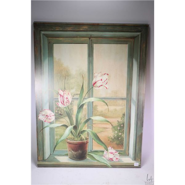 Two prints including a still-life in a window and cats on a bookshelf looking out of a window. Not A
