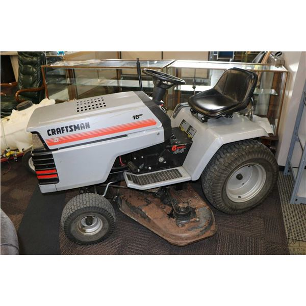 """Craftsman II 18 HP, 6 speed, 44"""" riding mower, working at time of cataloguing"""