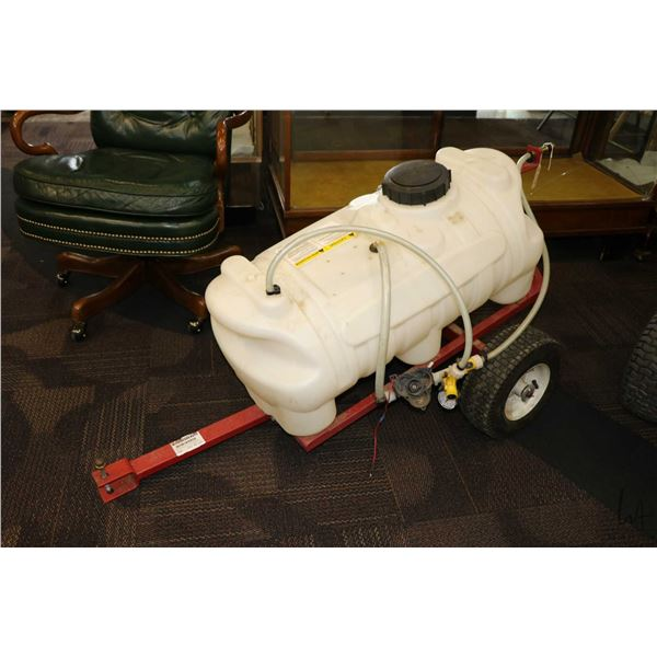 Power Fist 25 gallon tow behind yard sprayer. Note missing parts, buy as tank and cart only