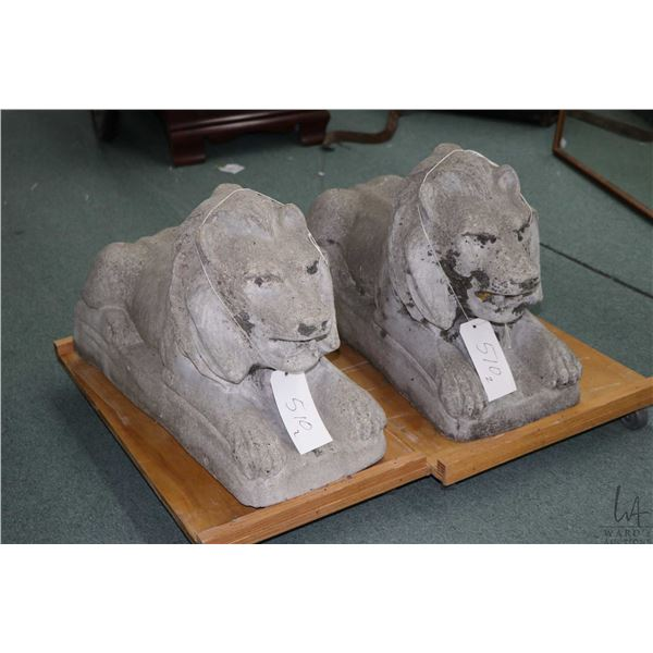 Pair of concrete prone laying lions, 28  in length. Not Available For Shipping. Local Pickup Only