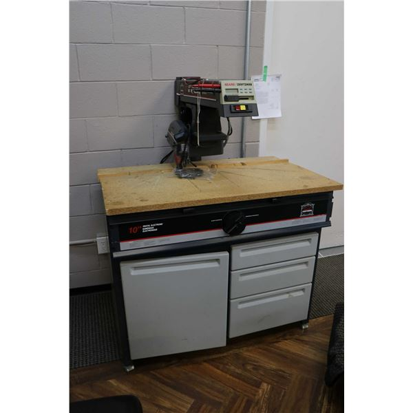 """Sears Craftsman 10"""" radial arm saw on storage base, working at time of cataloguing"""