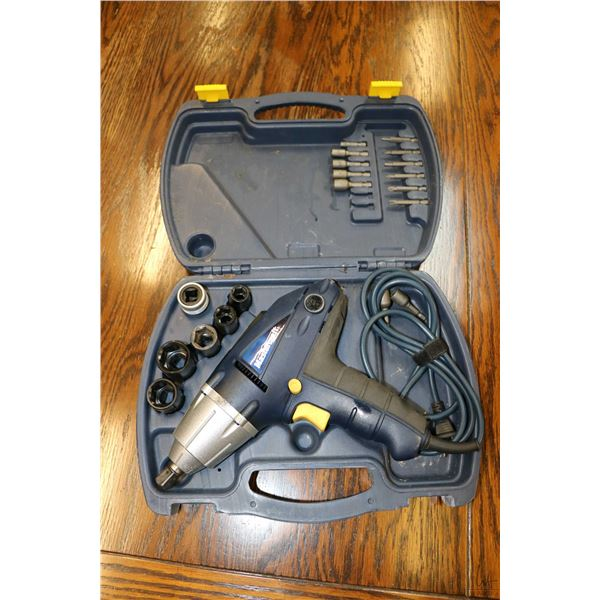 """Mastercraft 1/2"""" electric impact wrench in moulded plastic case with sockets, appears to have had li"""