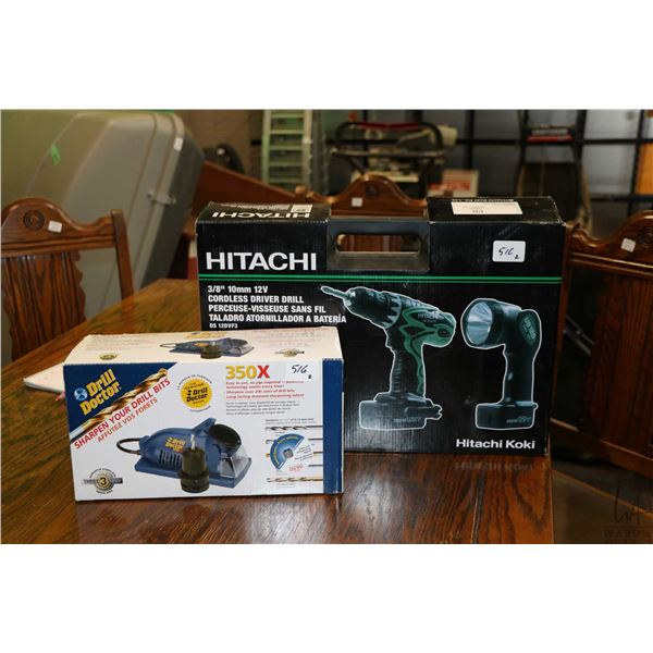 Drill Doctor Model 350X drill sharpener and Hitachi Model DS12DVF3 cordless drill driver, both new i