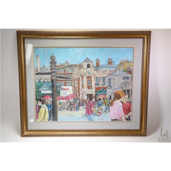 Appears to be an original pastel on paper drawing of Covent Gardens London, no artist signature seen
