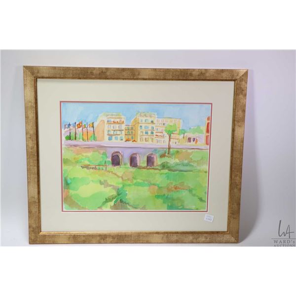 Appears to be original watercolour painting of a street scene and bridge, no artist signature seen 1