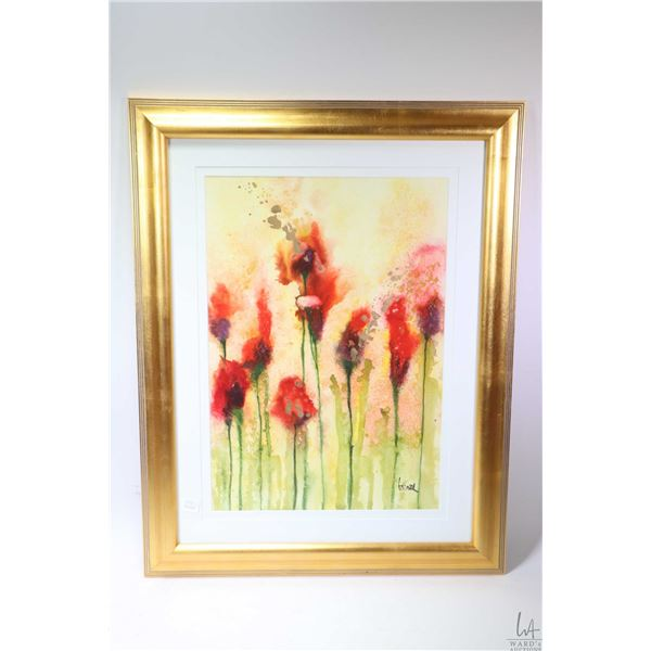 """Framed watercolour painting titled on verso """"Red Lilies, Yellow Sky"""" signed by artist 14"""" X 20. Not"""