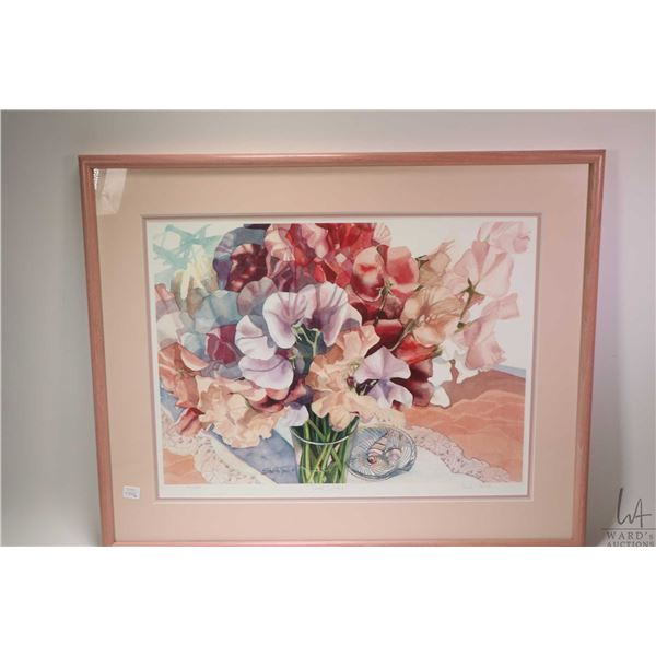 """Two framed prints including """"Sweet Peas"""" 120/550 and tulips 101/550 both pencil signed by artist Sha"""