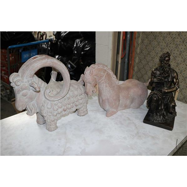"""Three pottery sculptures including a wading horse plus two Austen sculptures : a 16"""" curly haired go"""