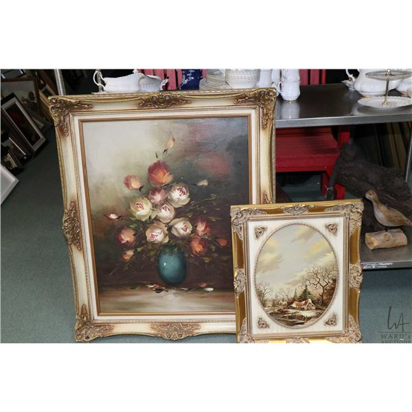 """Two original artworks on canvas including oil painting of a Dutch cottage 16"""" X 13"""" and a floral sti"""