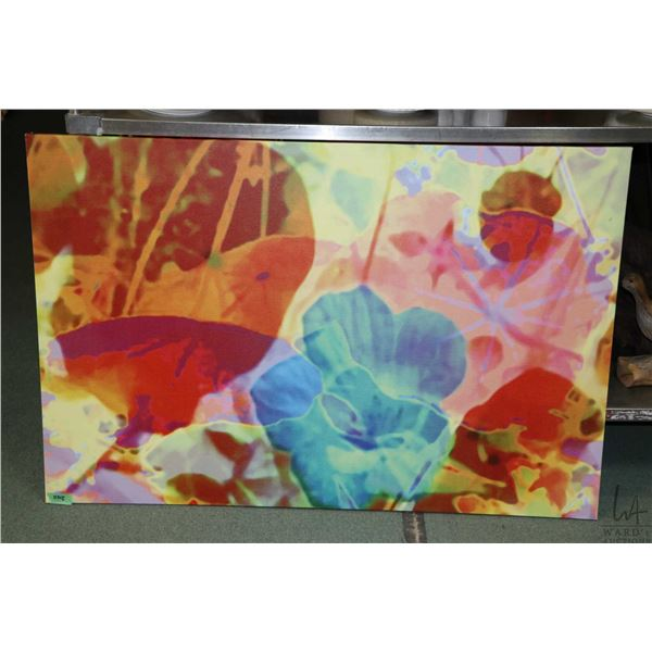 Two pictures including an original acrylic on canvas abstract still-life signed artist Patrick Tang,