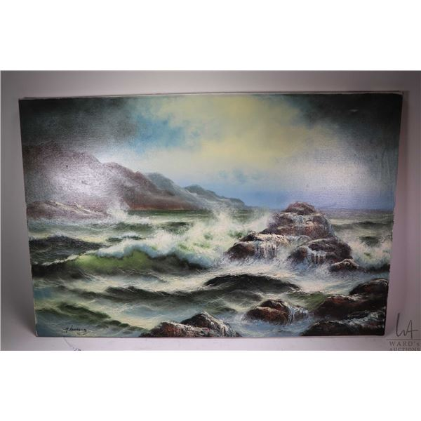 """Two pictures including an unframed oil on canvas seascape signed by artist, 24"""" X 36"""" and a large fr"""