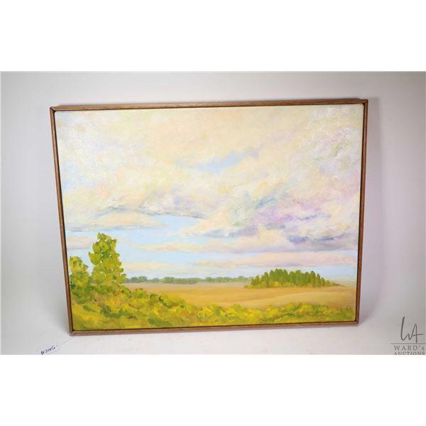 """Framed oil on canvas painting, titled on verso """"Sunlit scene"""" signed by artist Alvira Boettcher, 18"""""""